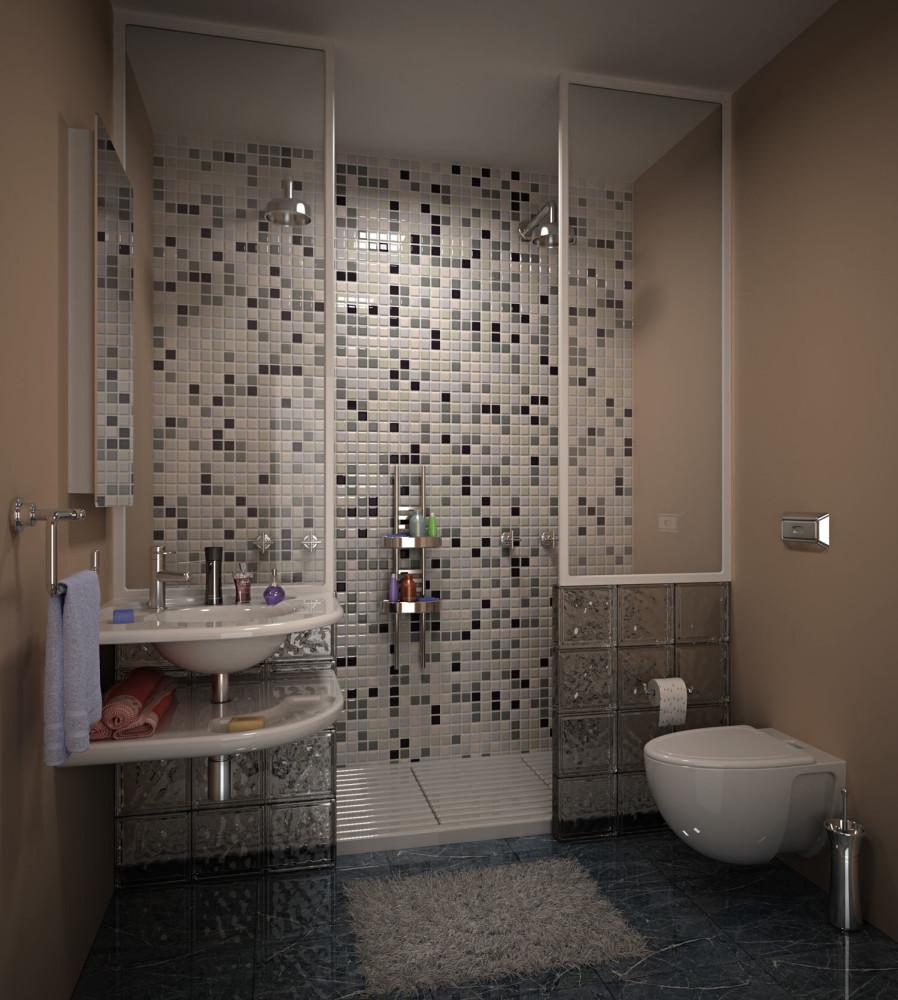 Ванная в  цветах:   Бежевый, Коричневый, Серый, Черный.  Ванная в  стиле:   Минимализм.