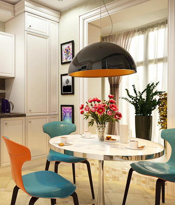 Кухня/столовая в  цветах:   Бежевый, Белый, Желтый, Светло-серый.  Кухня/столовая в  стиле:   Эклектика.