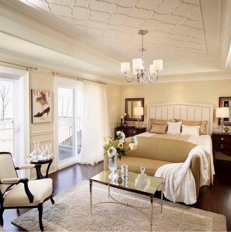 Спальня в  цветах:   Бежевый, Белый, Желтый, Светло-серый.  Спальня в  стиле:   Арт-деко.