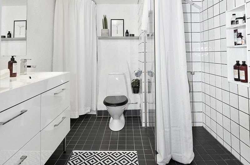 Туалет в  цветах:   Белый, Светло-серый, Серый, Черный.  Туалет в  стиле:   Минимализм.