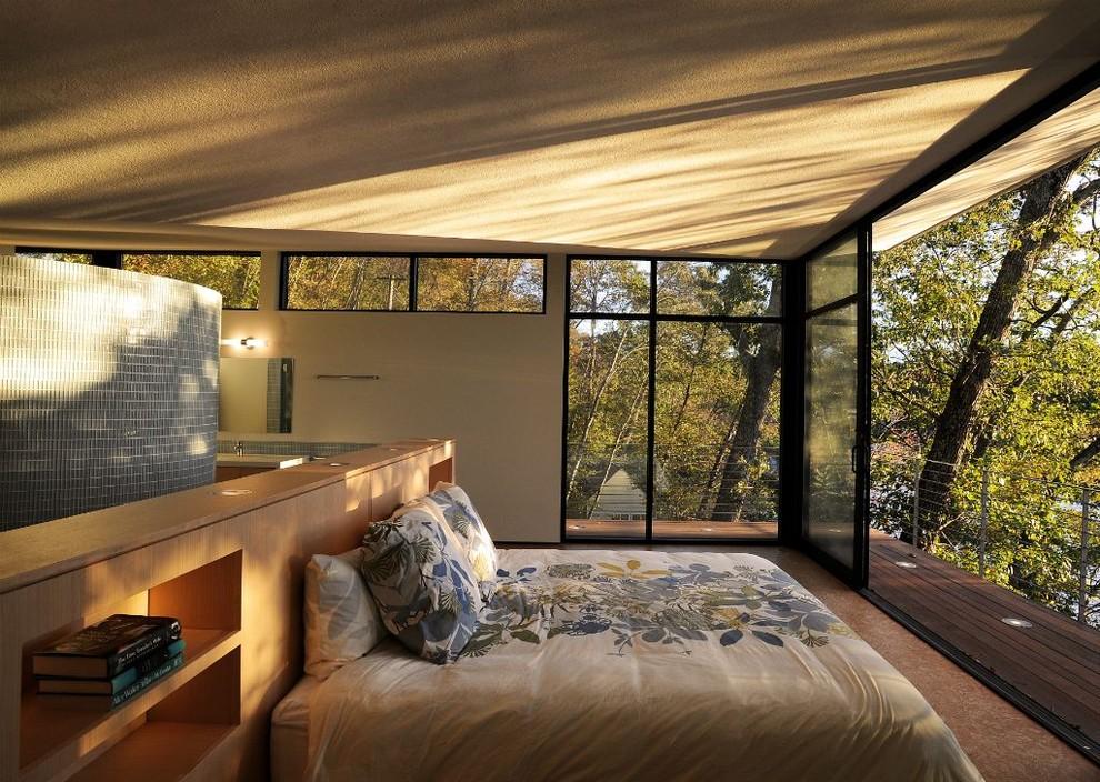 Спальня в  цветах:   Бежевый, Коричневый, Серый, Темно-зеленый.  Спальня в  стиле:   Минимализм.