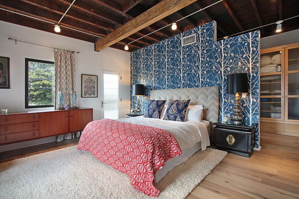 Спальня в  цветах:   Коричневый, Светло-серый, Серый, Темно-коричневый.  Спальня в  стиле:   Эклектика.
