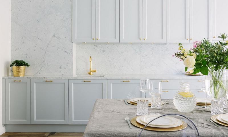 Кухня/столовая в  цветах:   Белый, Салатовый, Светло-серый, Серый.  Кухня/столовая в  стиле:   Минимализм.