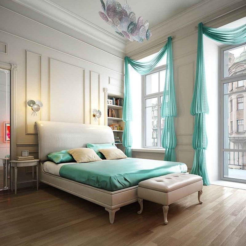 Спальня в  цветах:   Белый, Коричневый, Светло-серый, Серый.  Спальня в  стиле:   Классика.