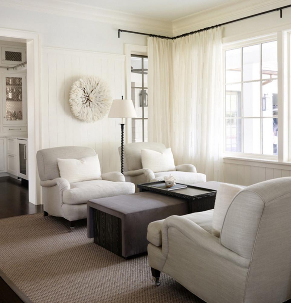 Гостиная в  цветах:   Белый, Коричневый, Светло-серый, Серый.  Гостиная в  стиле:   Американский стиль.