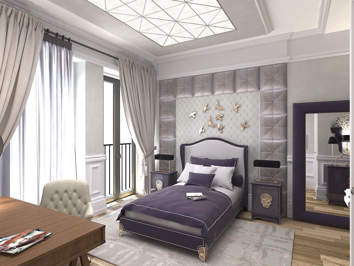 Спальня в  цветах:   Бежевый, Белый, Светло-серый, Серый, Черный.  Спальня в  стиле:   Неоклассика.