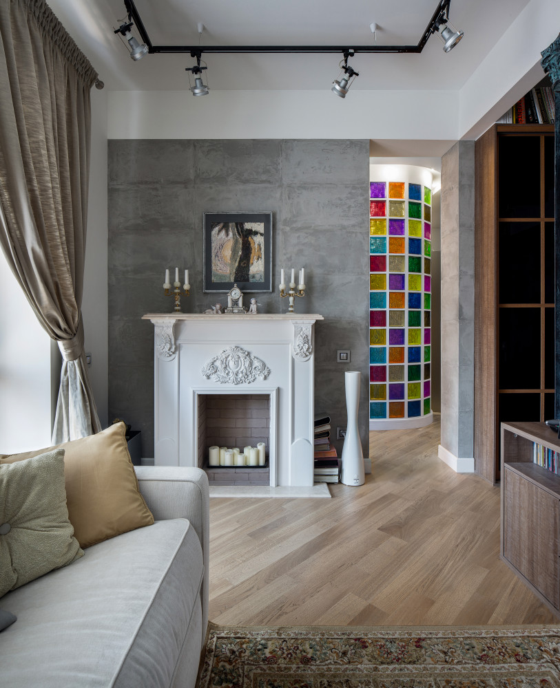 Гостиная в  цветах:   Бежевый, Светло-серый, Серый, Черный.  Гостиная в  стиле:   Лофт.