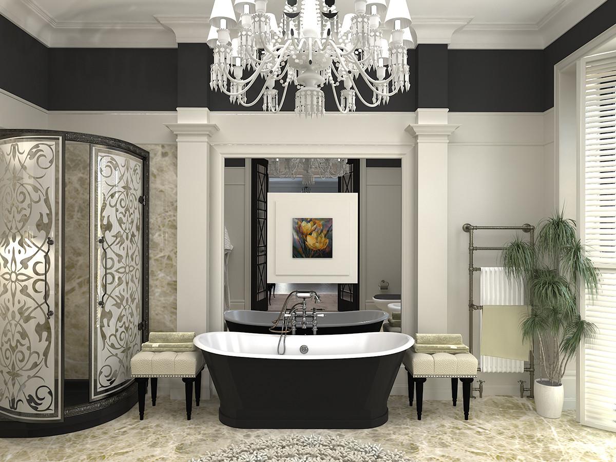 Ванная в  цветах:   Бежевый, Белый, Светло-серый, Серый, Черный.  Ванная в  стиле:   Неоклассика.