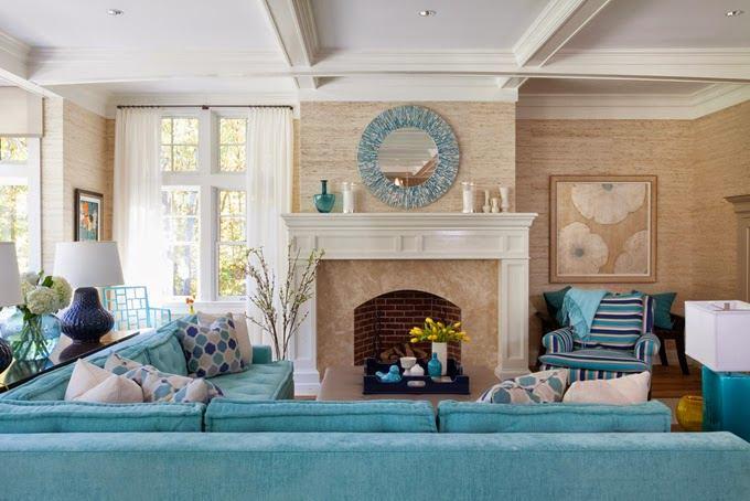 Гостиная, холл в цветах: голубой, бирюзовый, белый, сине-зеленый, коричневый. Гостиная, холл в стиле классика.