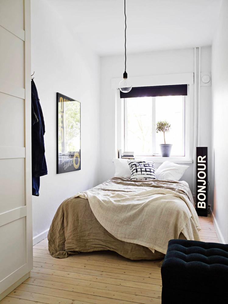Спальня в цветах: черный, серый, белый, коричневый. Спальня в стиле минимализм.