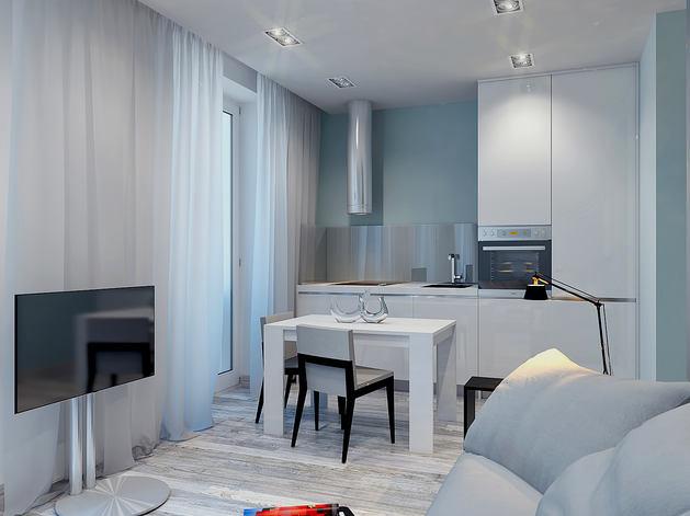 Гостиная, холл в цветах: голубой, черный, серый. Гостиная, холл в стиле минимализм.