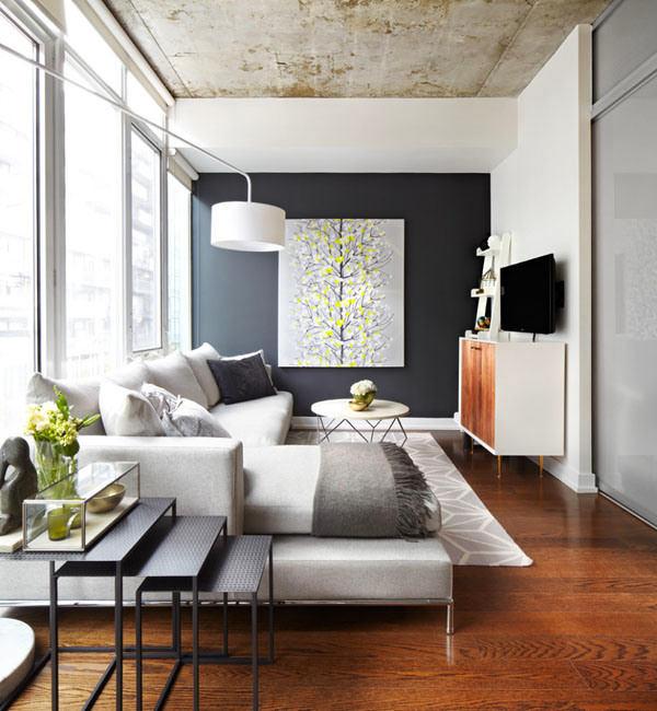 Гостиная, холл в цветах: черный, серый, светло-серый. Гостиная, холл в стиле минимализм.