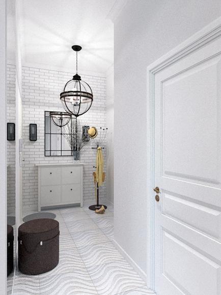 Прихожая в цветах: серый, светло-серый, белый. Прихожая в стиле классика.