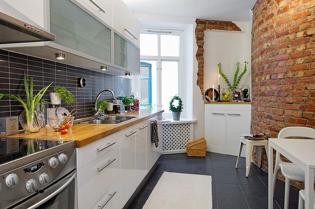 Кухня в цветах: серый, белый, коричневый, бежевый. Кухня в стиле скандинавский стиль.