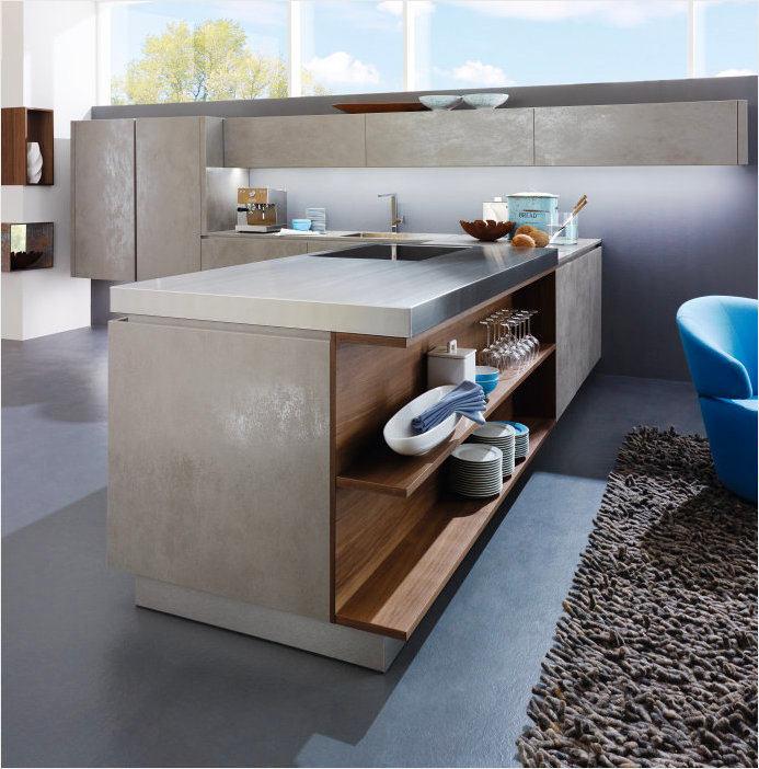 Кухня в цветах: черный, серый, светло-серый, коричневый. Кухня в стиле минимализм.
