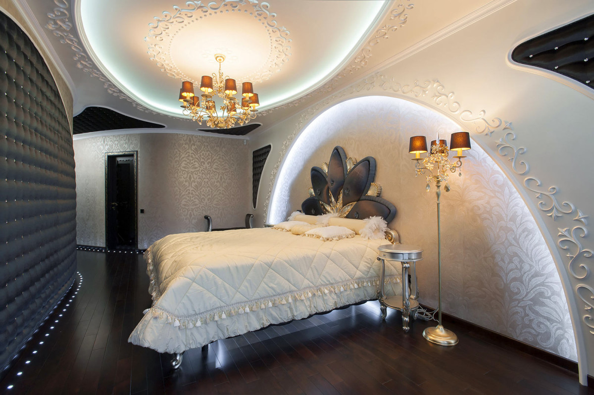 Спальня в цветах: желтый, серый, светло-серый, белый. Спальня в стиле модерн и ар-нуво.