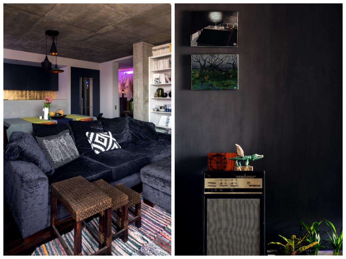 Гостиная, холл в цветах: черный, серый, светло-серый, коричневый, бежевый. Гостиная, холл в стилях: минимализм, этника.