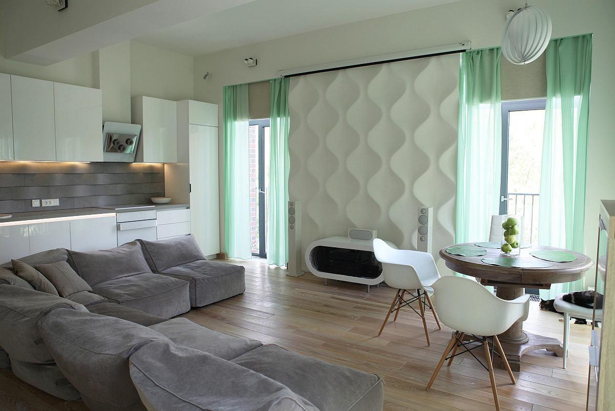Гостиная, холл в цветах: бирюзовый, серый, светло-серый, белый. Гостиная, холл в стилях: дальневосточные стили, эклектика.