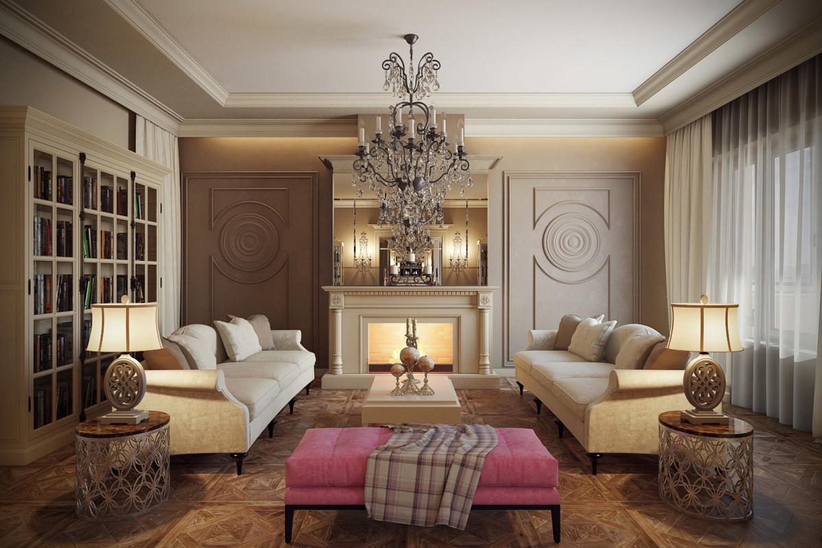 Гостиная, холл в цветах: серый, светло-серый, коричневый, бежевый. Гостиная, холл в стиле неоклассика.