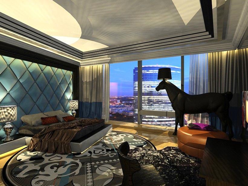 Спальня в цветах: черный, серый, светло-серый, сине-зеленый, темно-коричневый. Спальня в стиле арт-деко.