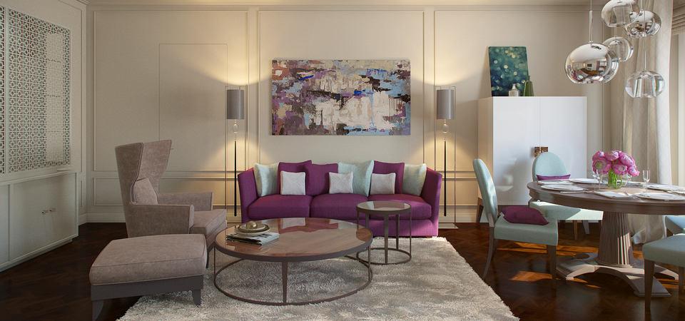 Фиолетовый диван, небесные стены и синяя детская: квартира с характером для молодой семьи