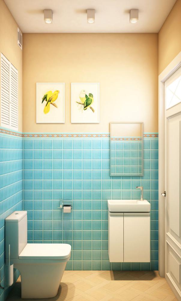 Туалет в цветах: бирюзовый, светло-серый, белый. Туалет в стиле эклектика.