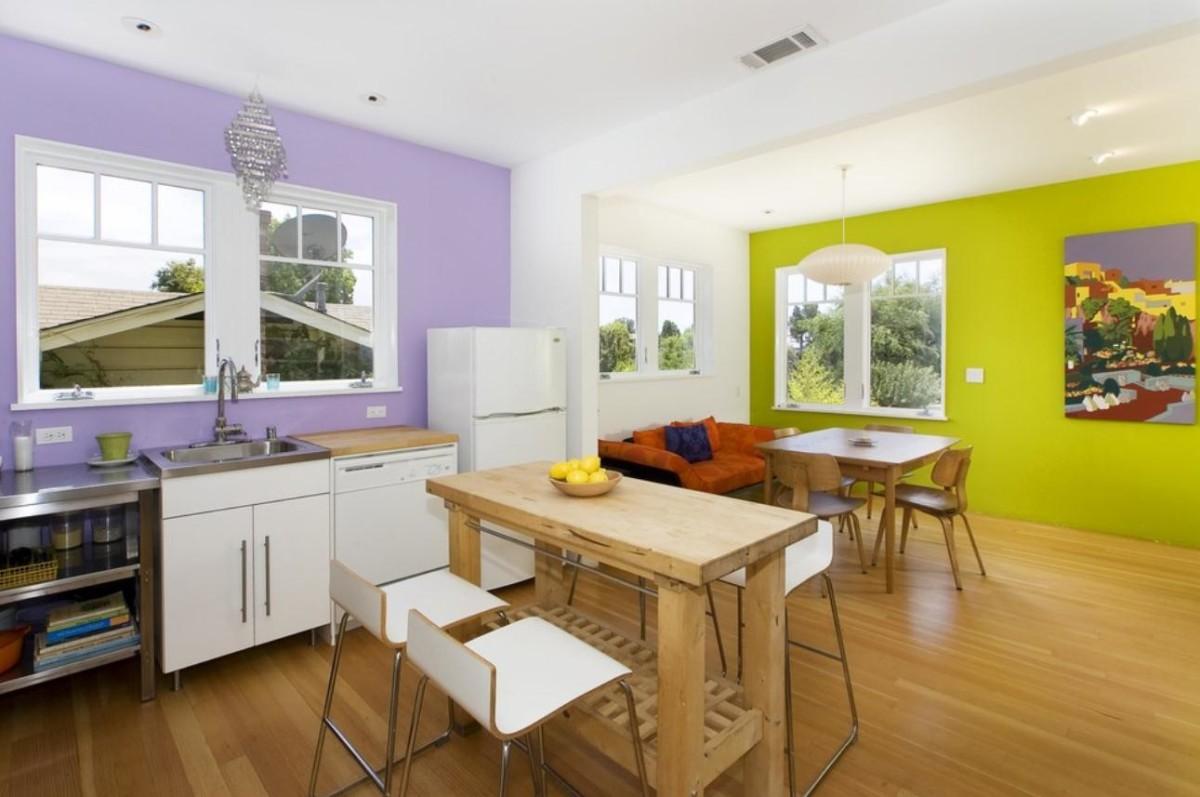 Кухня в цветах: белый, салатовый, сиреневый, коричневый, бежевый. Кухня в стиле минимализм.