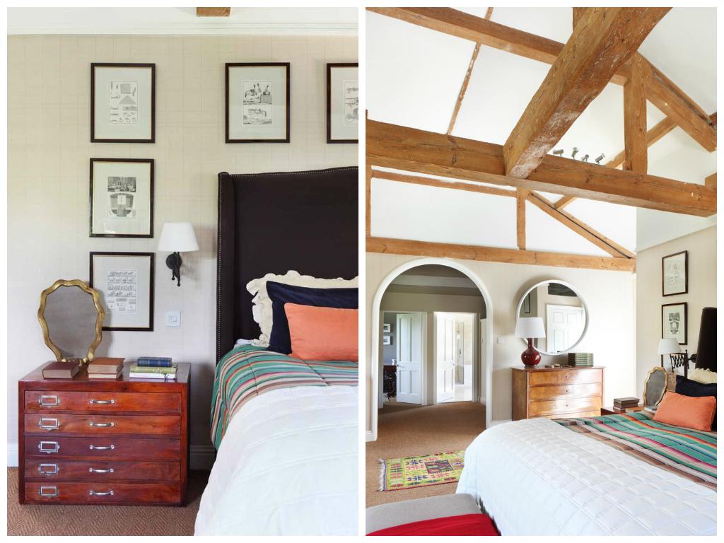 Спальня в цветах: черный, коричневый, бежевый. Спальня в стиле эклектика.