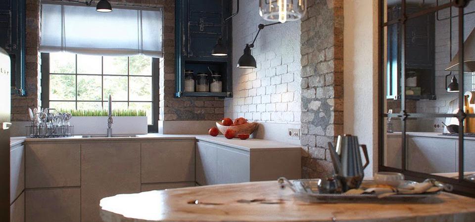 Как оформить небольшую кухню в стиле лофт