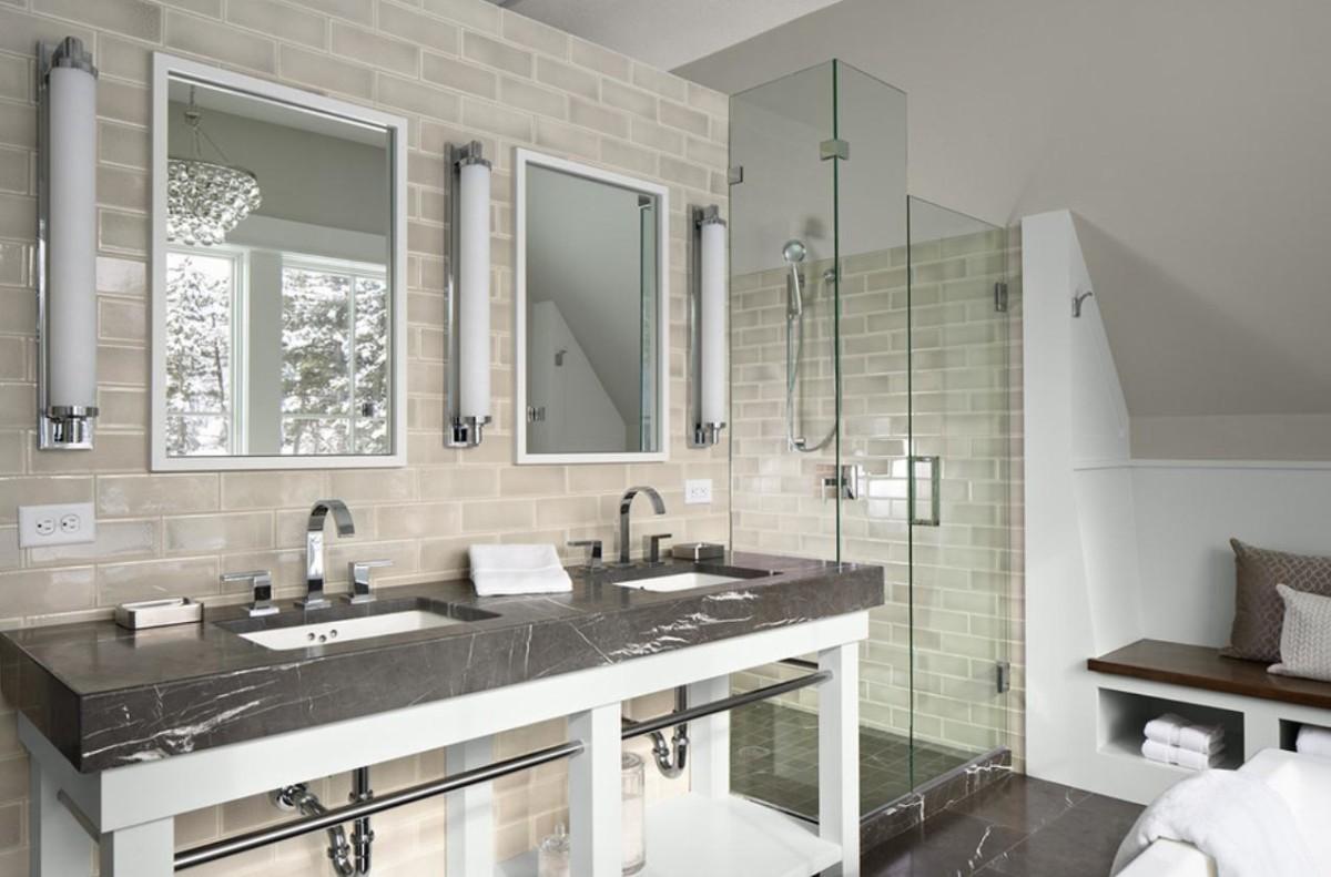 Туалет в цветах: серый, белый, бежевый. Туалет в стиле минимализм.