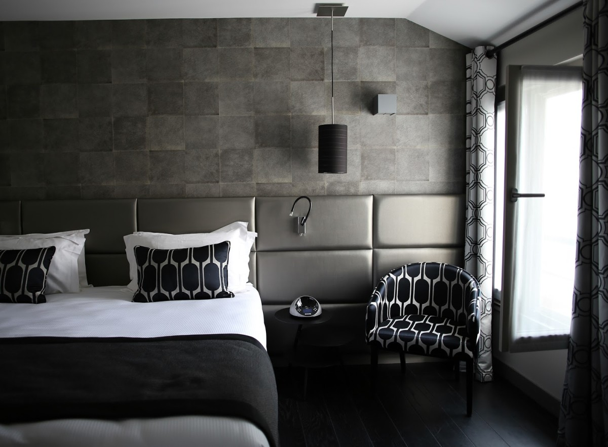 Спальня в цветах: черный, серый, светло-серый, белый. Спальня в стиле арт-деко.