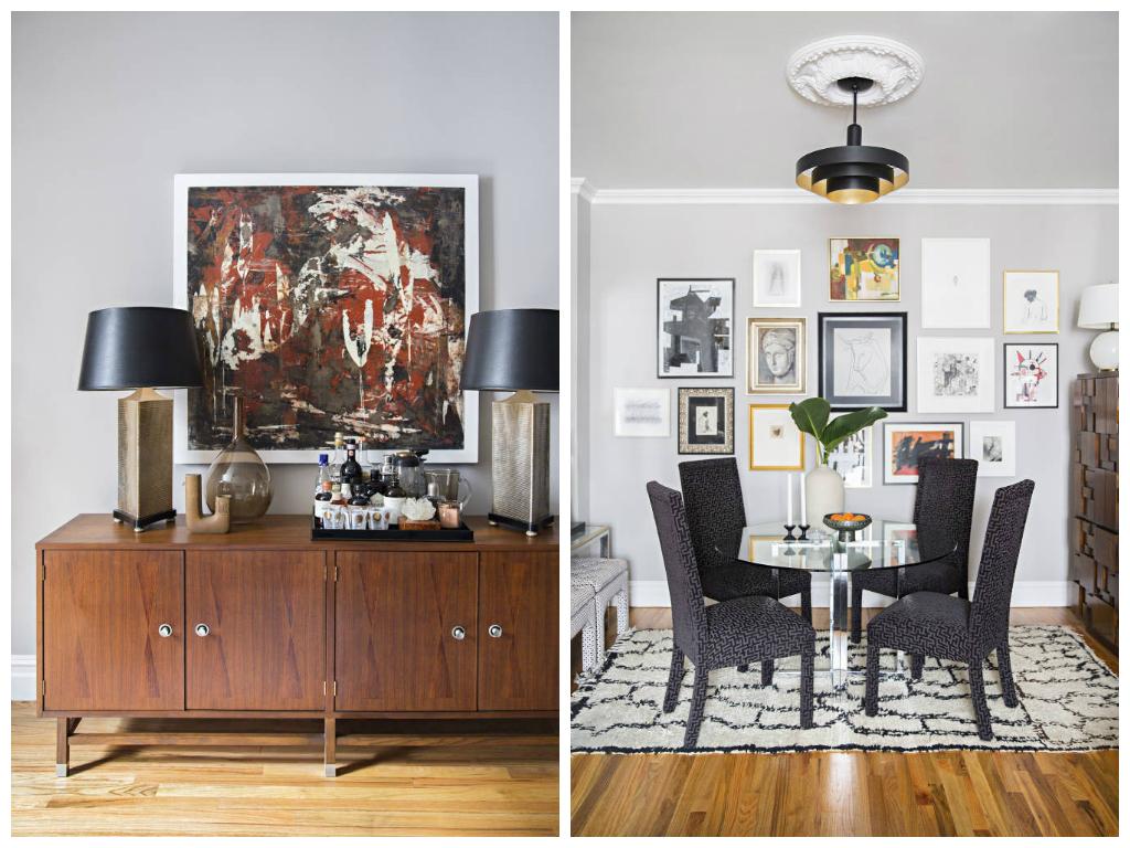 Столовая в цветах: черный, серый, светло-серый, коричневый, бежевый. Столовая в стиле неоклассика.