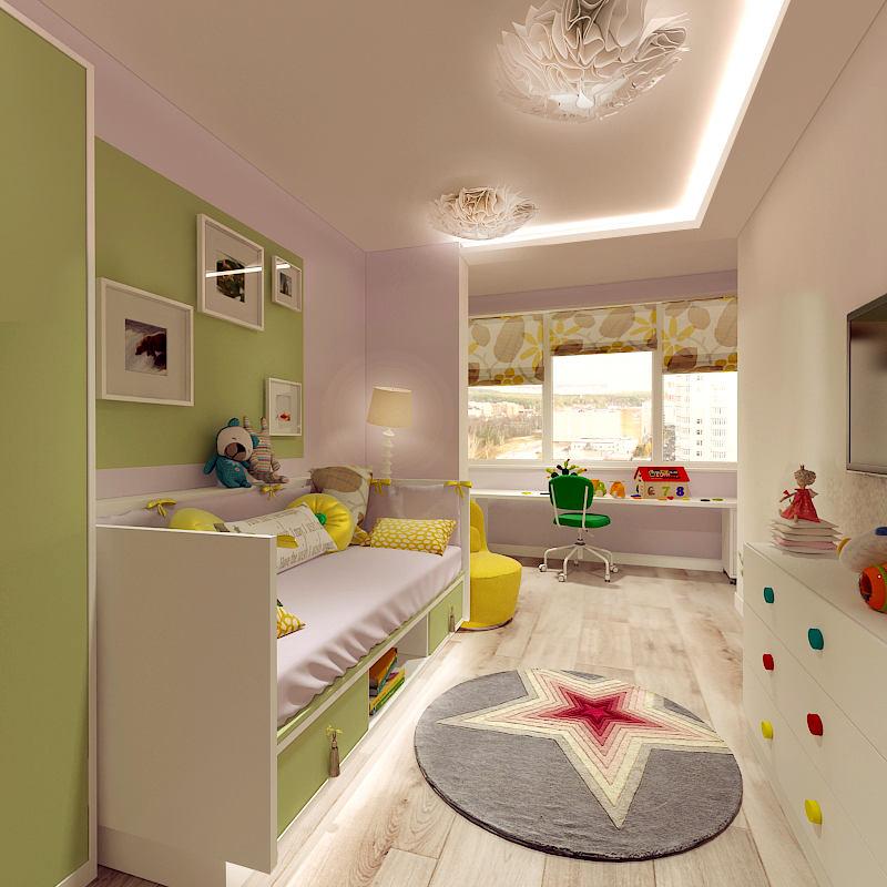 Детская в цветах: светло-серый, белый, салатовый, бежевый. Детская в стиле минимализм.