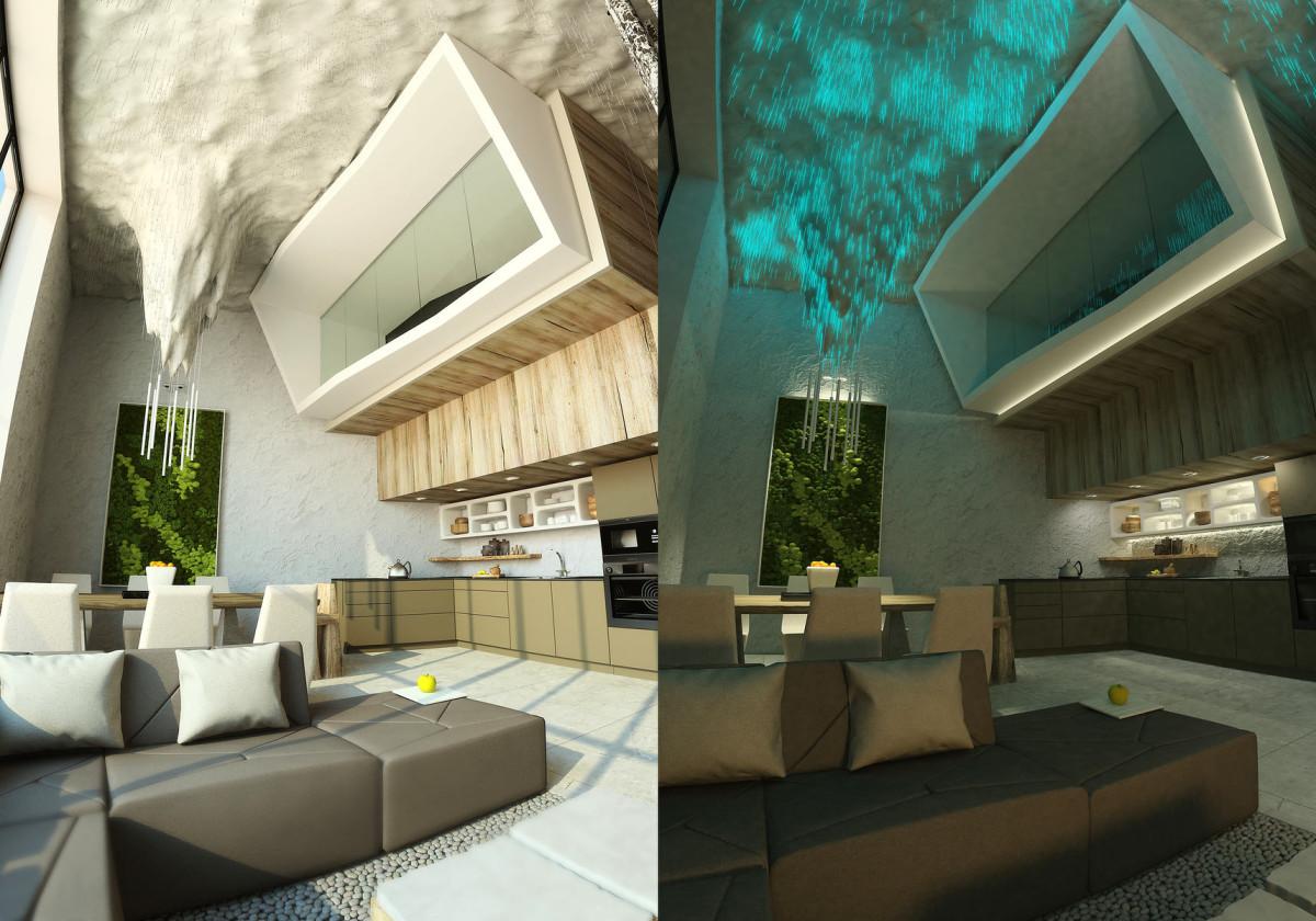 Кухня в цветах: черный, серый, светло-серый, темно-зеленый. Кухня в стилях: минимализм, экологический стиль.