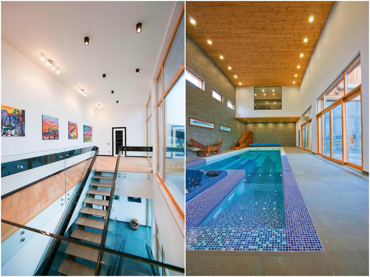 Бассейн, баня, сауна в цветах: голубой, серый, белый, коричневый, бежевый. Бассейн, баня, сауна в стиле экологический стиль.