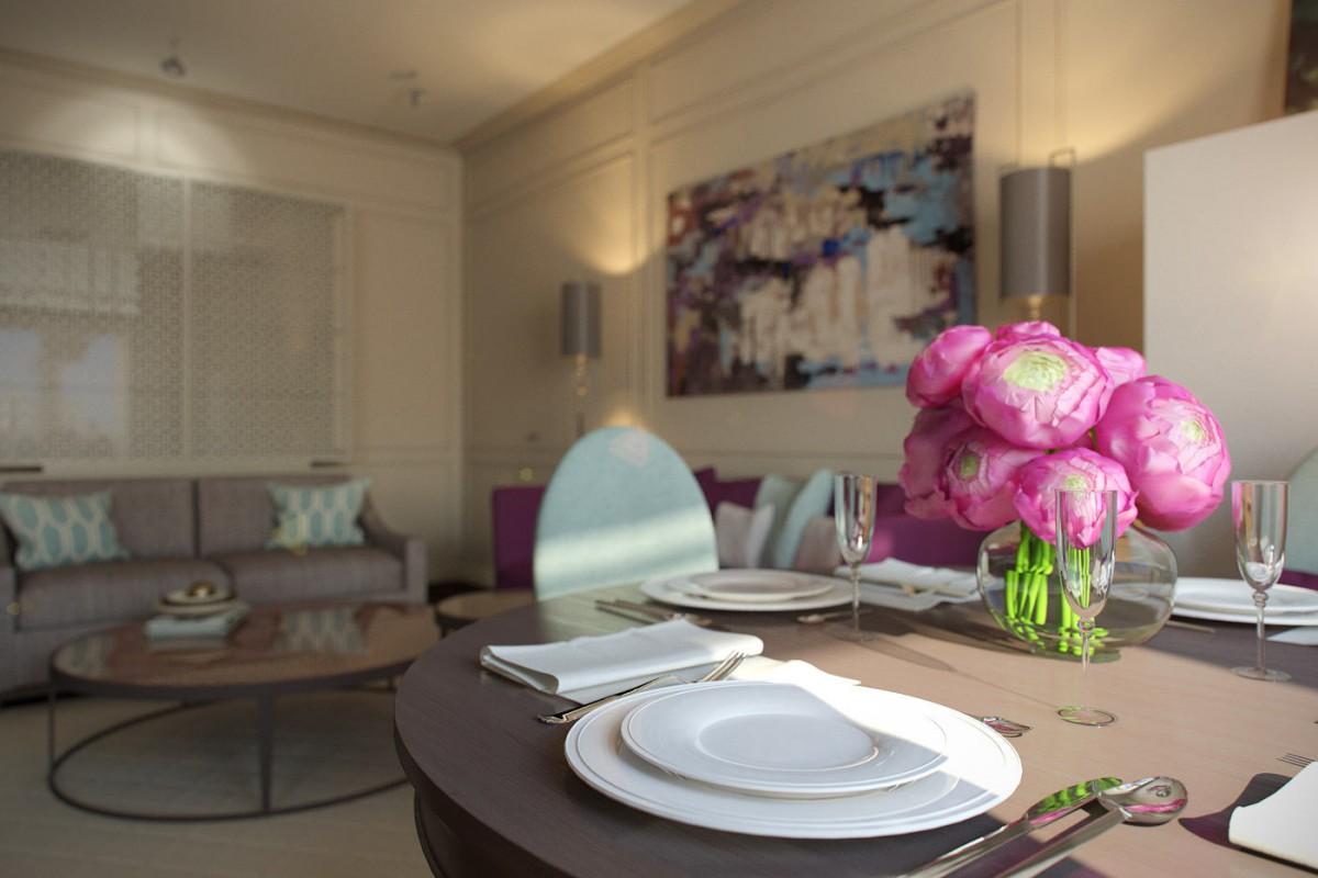 Гостиная, холл в цветах: голубой, серый, светло-серый, сиреневый, коричневый. Гостиная, холл в стиле арт-деко.