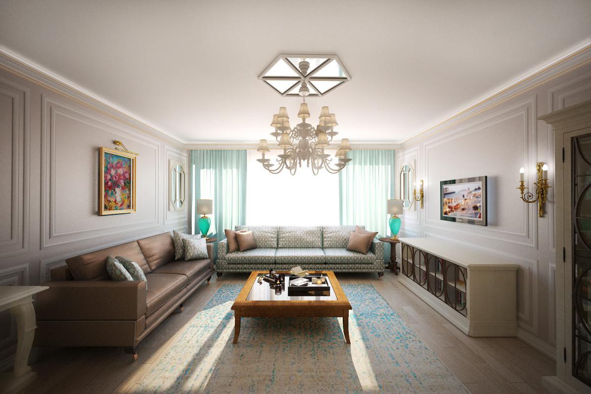 Гостиная, холл в цветах: голубой, светло-серый, белый, коричневый, бежевый. Гостиная, холл в стиле неоклассика.