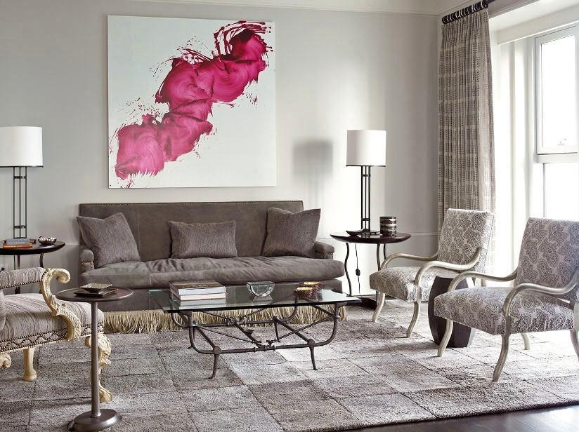 Гостиная, холл в цветах: серый, светло-серый, белый, розовый, бежевый. Гостиная, холл в стиле неоклассика.
