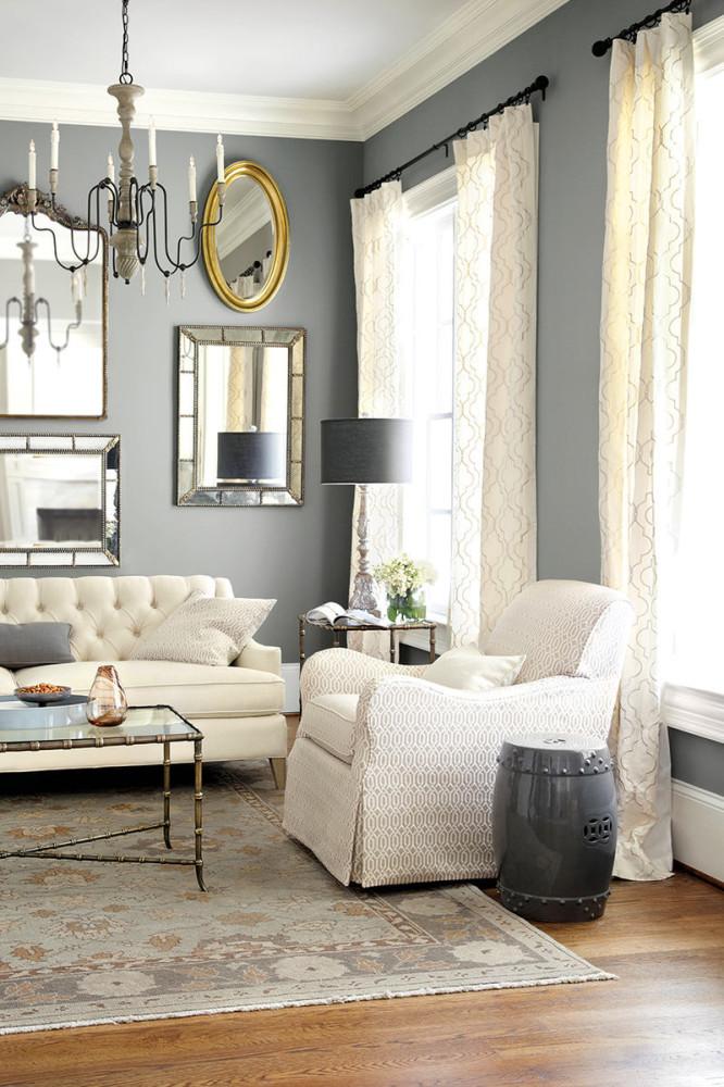 Гостиная, холл в цветах: серый, светло-серый, белый. Гостиная, холл в стиле американский стиль.