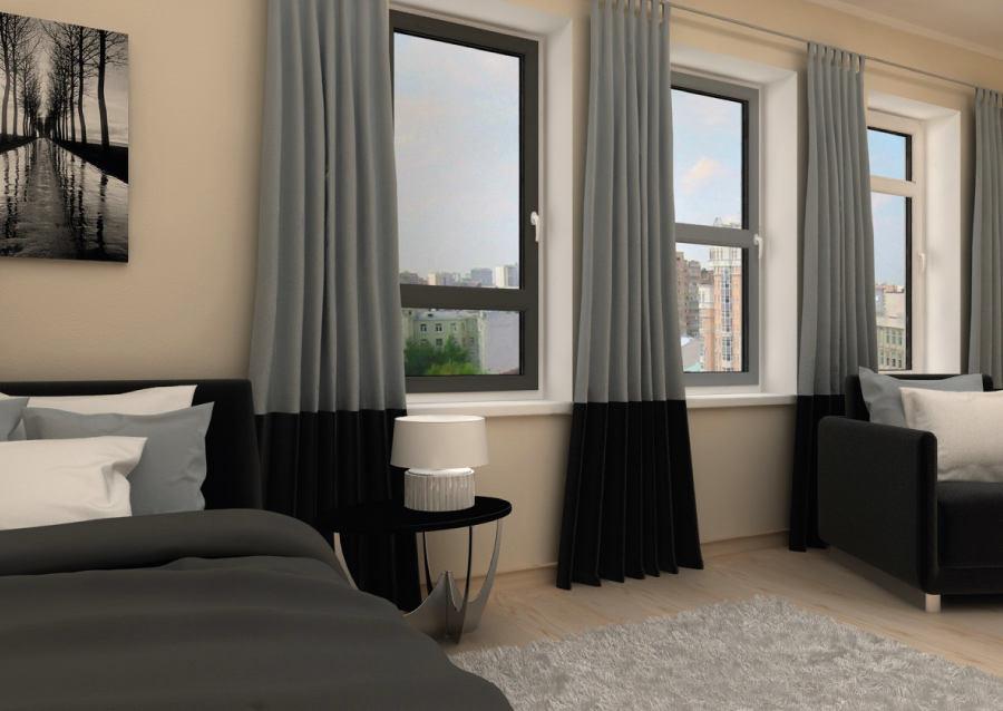 Спальня в цветах: черный, серый, светло-серый, бежевый. Спальня в стилях: минимализм, хай-тек.
