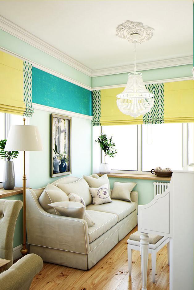 Гостиная, холл в цветах: светло-серый, белый, лимонный. Гостиная, холл в стиле эклектика.