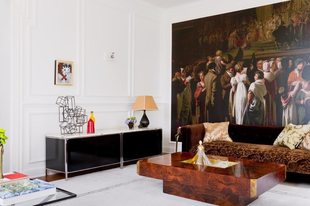 Гостиная, холл в цветах: черный, белый, темно-коричневый, коричневый. Гостиная, холл в стиле эклектика.