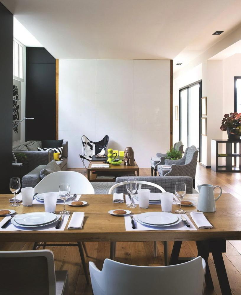 Гостиная, холл в цветах: черный, серый, светло-серый, белый, бежевый. Гостиная, холл в стилях: французские стили, лофт.