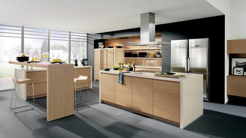 Кухня в цветах: черный, серый, белый, бежевый. Кухня в стиле минимализм.
