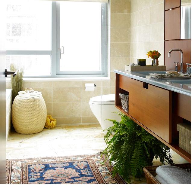 Туалет в цветах: светло-серый, коричневый, бежевый. Туалет в стиле экологический стиль.