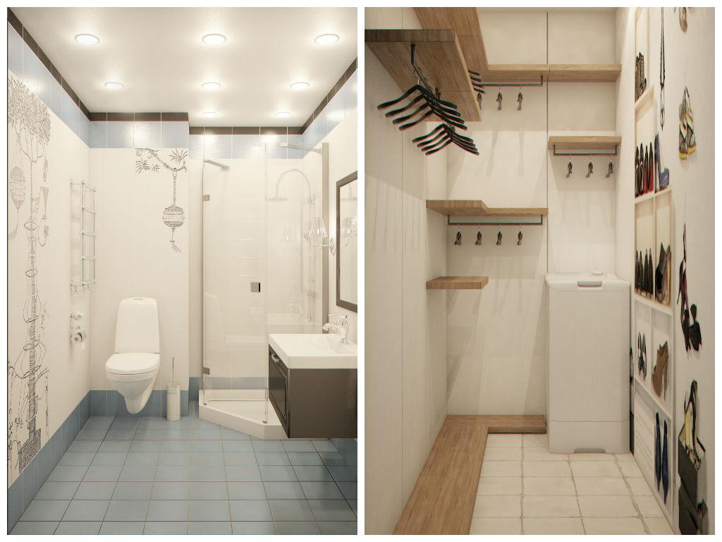 Туалет в цветах: серый, светло-серый, бежевый. Туалет в стиле эклектика.