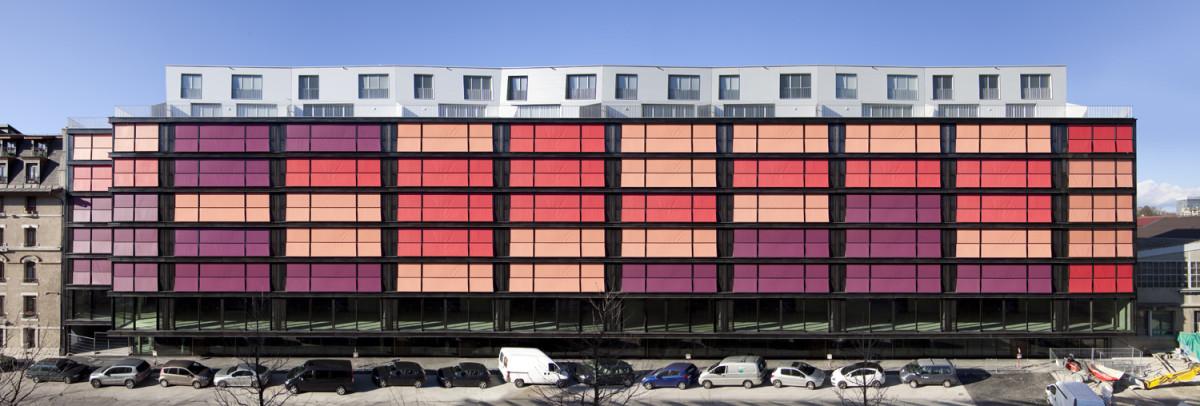 Архитектура в цветах: красный, фиолетовый, серый, розовый. Архитектура в .