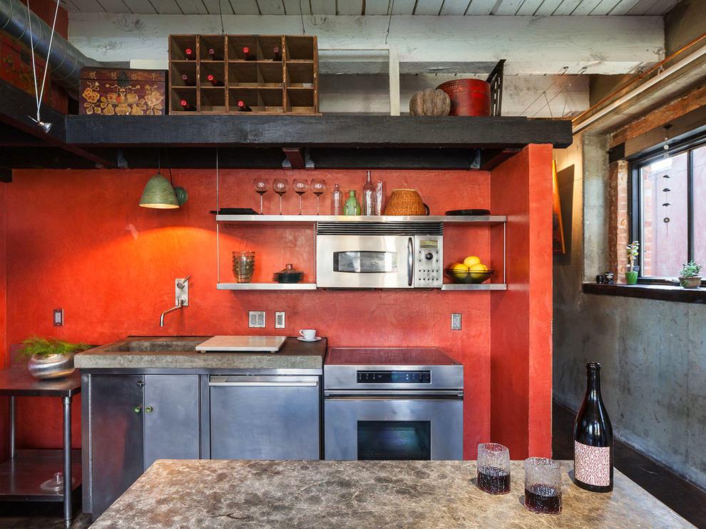 Кухня в цветах: красный, серый, светло-серый, темно-коричневый. Кухня в стиле лофт.