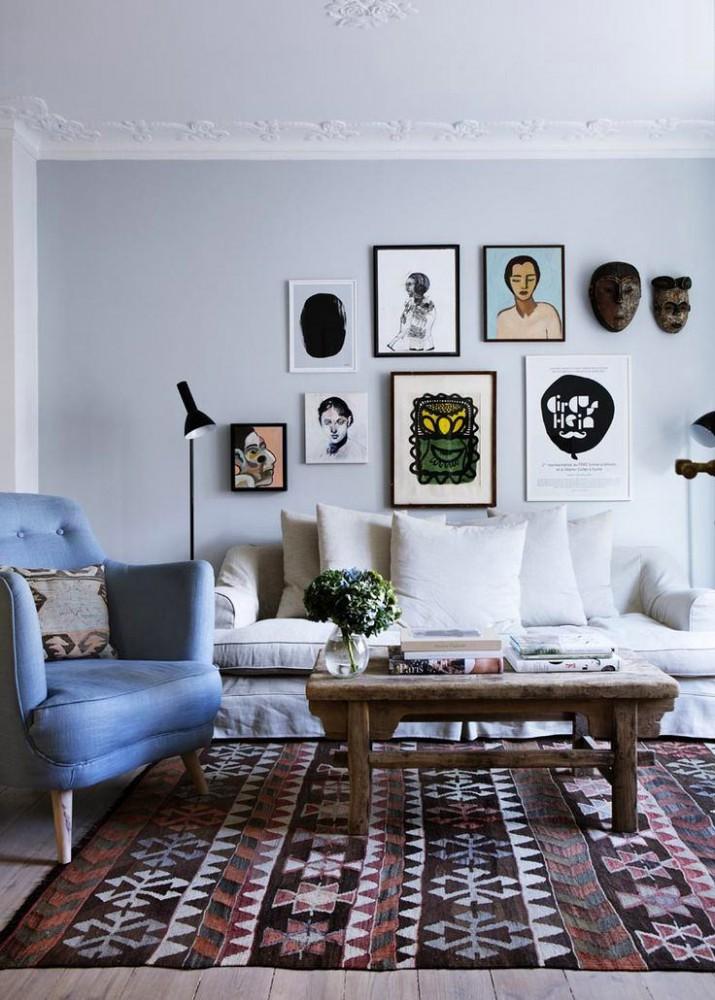 Гостиная, холл в цветах: черный, серый, белый. Гостиная, холл в стилях: скандинавский стиль, эклектика.