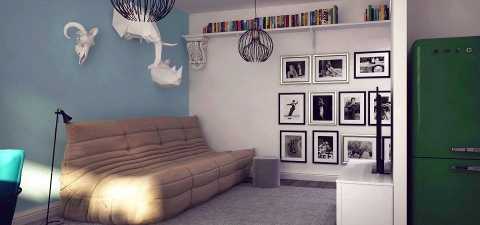 Как вместить на 60 метрах спальню, гостиную, офис, библиотеку, гардеробную